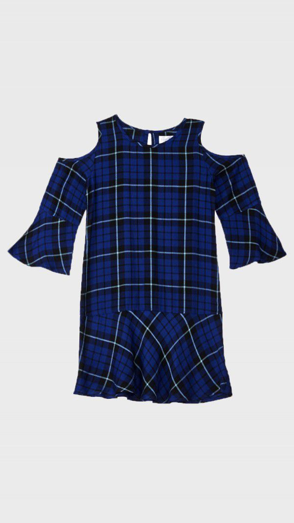 Teen Girls Cold Shoulder Plaid  - sbuys | ello