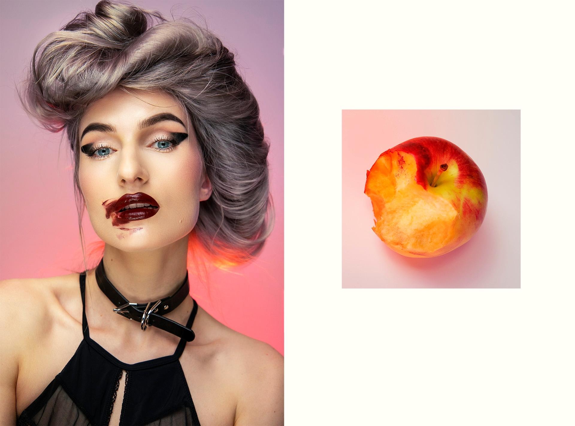Obraz przedstawia dwa zdjęcia - portret kobiety, oraz zdjęcie ugryzionego jabłka.