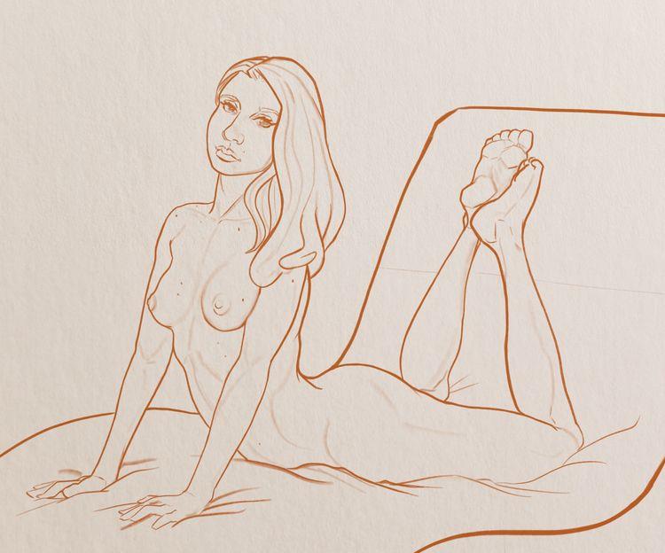 Digital sketch Procreate - nude - tamhutart | ello