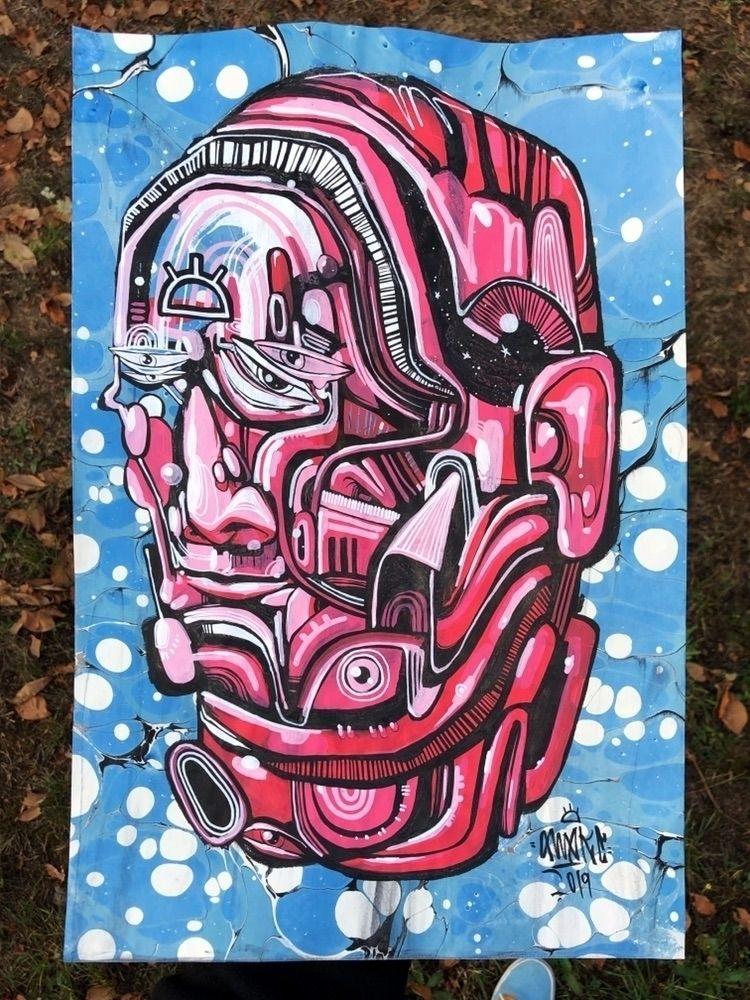 """Unfolding 11x17 Paint pen ink  - awake_pdx   ello"