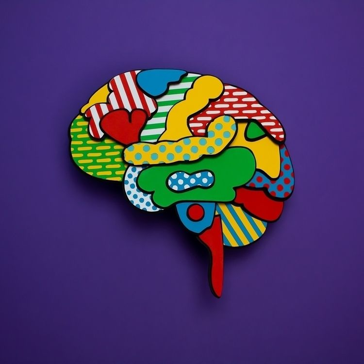brain - paperart, color, pattern - hampusha | ello