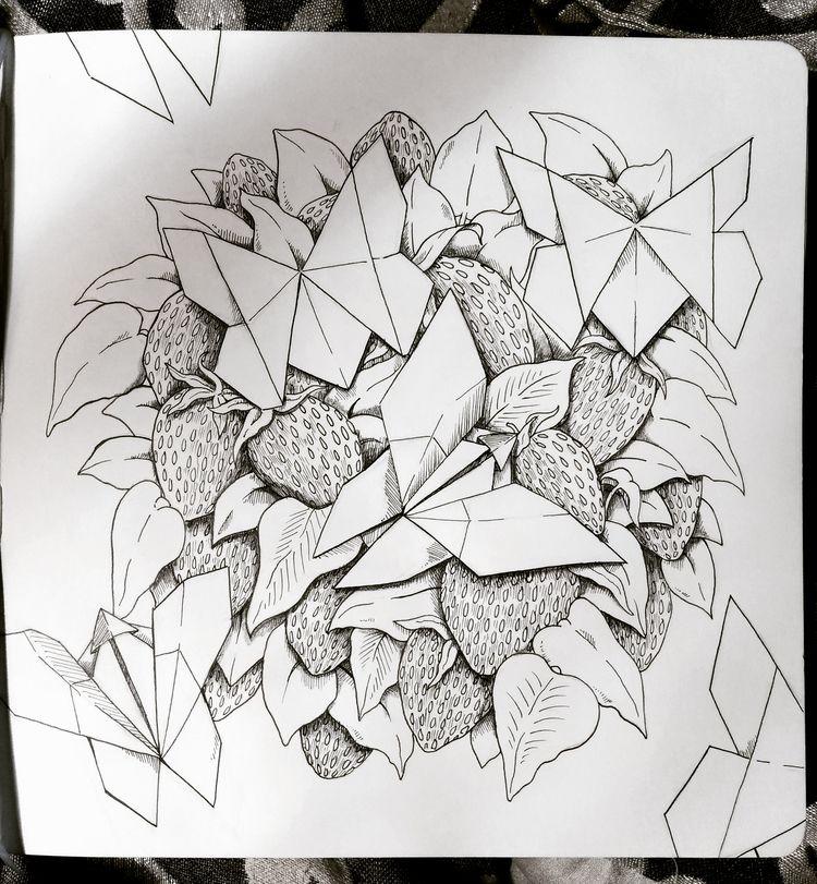 Butterflies Strawberries - grumpyraven | ello
