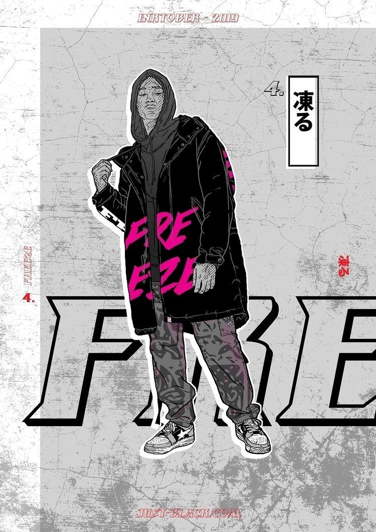 Inktober 2019. 4. 凍る - Freeze - illustration - justblack | ello