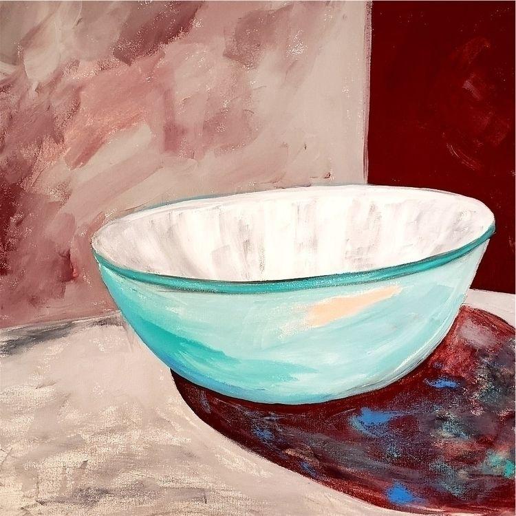 Turquoise Bowl acrylic, charcoa - artisticojc | ello