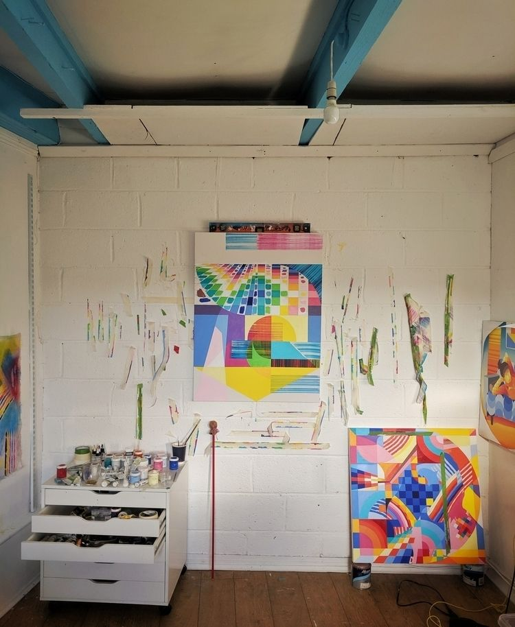 Studio vibes. Working multiple  - shaneomalleyart | ello
