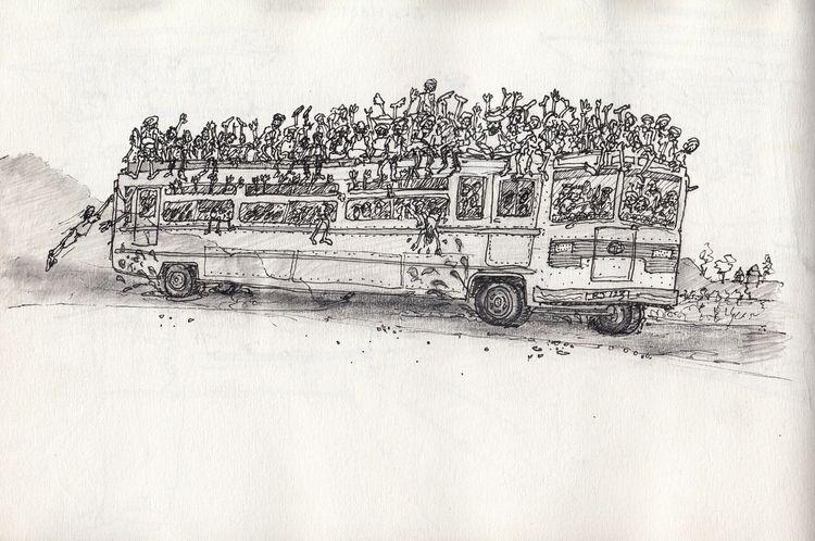 Indian Bus - sketch 1994 pen pe - ushah | ello