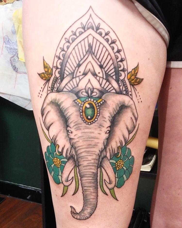 Elephant mandala thigh piece gr - yankeedoodlezart | ello