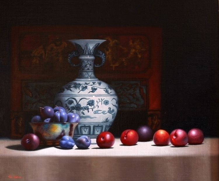 Blue plums Chinese Vase, Oil li - vickisullivanart   ello