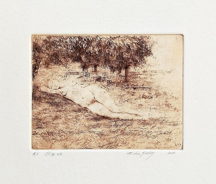 summer afternoon - drypoint, etching - miradenhartog | ello