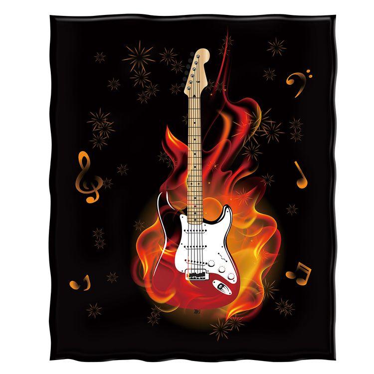 Burning Guitar Throw Blanket Co - chrisyc | ello