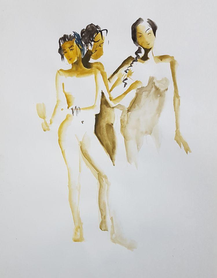nude, watercolor, quicksketch - leacmi | ello