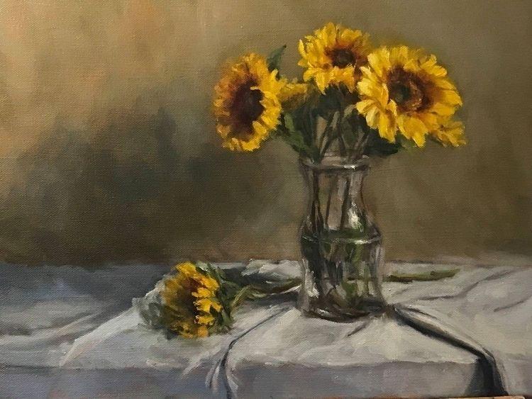 Sunflowers glass jar, oil canva - srajagopalan | ello