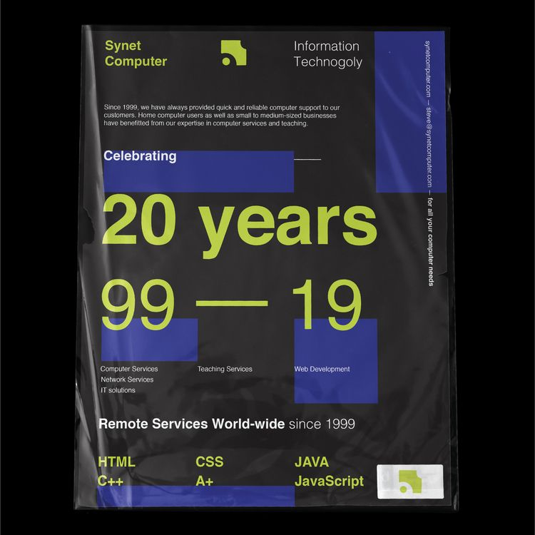 Synetcompters - 20 years - design - stedsgn | ello
