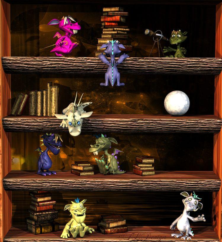 playing monsters bookshelf :) 3 - freyamoonlight   ello