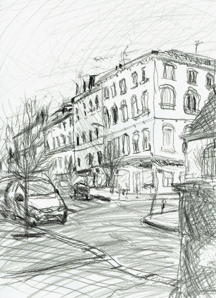 city, street, illustration, lovedrawing - antoninguillot | ello