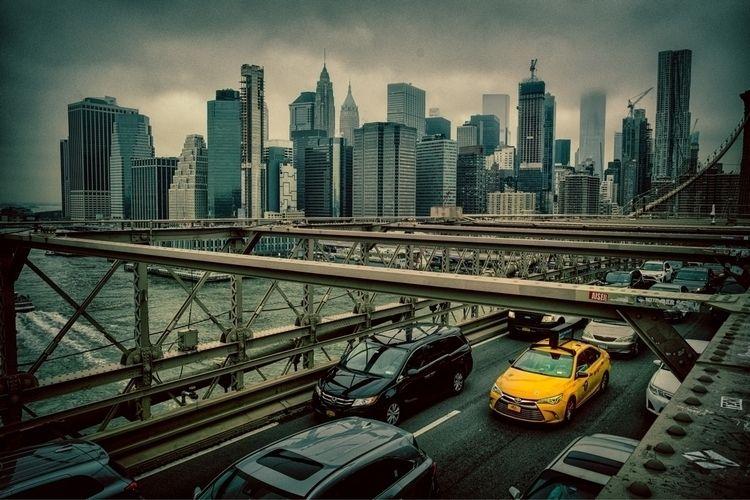 yellow taxi Brooklyn bridge - paulgriffiths | ello
