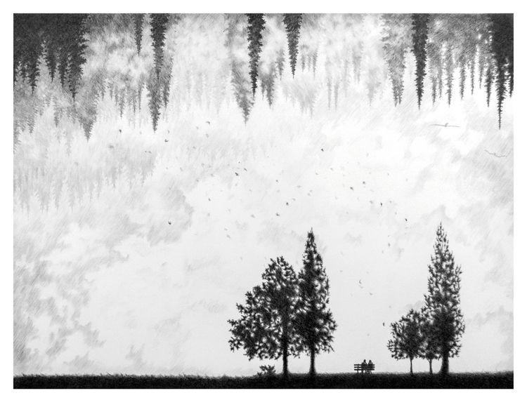Ink pencil paper 60×80 cm work  - klemt   ello
