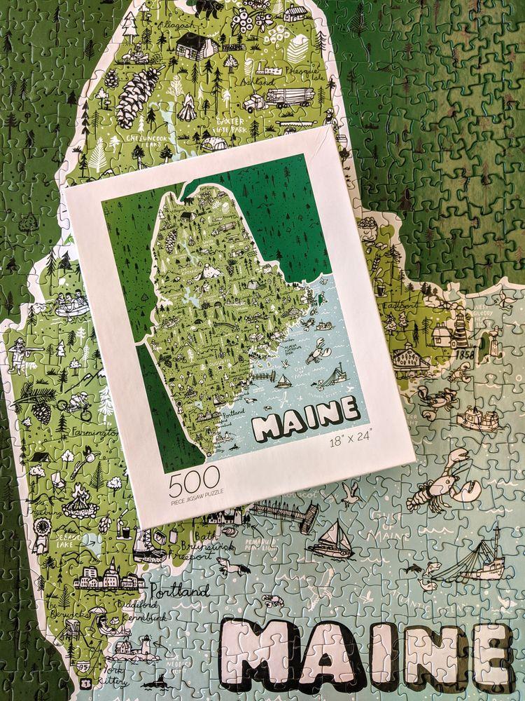 turned Maine Map 500 piece puzz - wearebrainstorm   ello