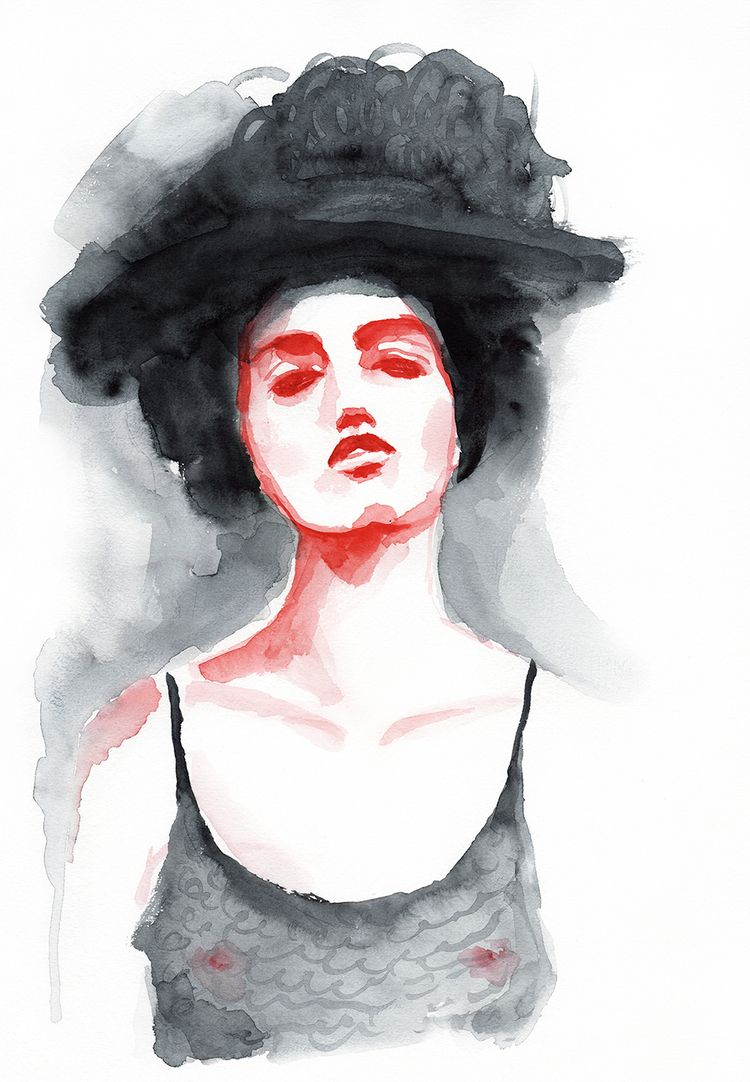 Woman hat - illustration, painting - sashafishkin | ello