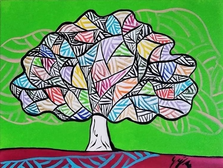 Trilogy Tree - 3rd Acrylic canv - gilaporta | ello