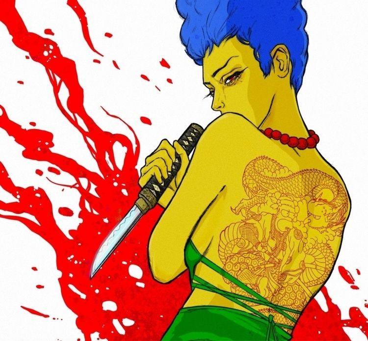 Marge Dragon Tattoo - simpsons, marge - dres13 | ello