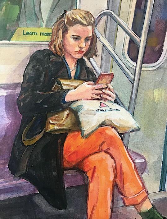 Girl Train Subway NYC - figurativepainting - atsushiohashi | ello