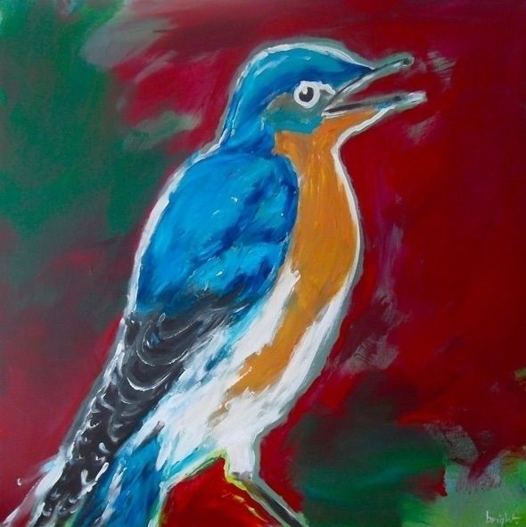 bird (red) / 36″ acrylic canvas - picoo | ello