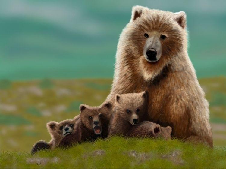 Mama Bear Cubs digital painting - spurdy33 | ello