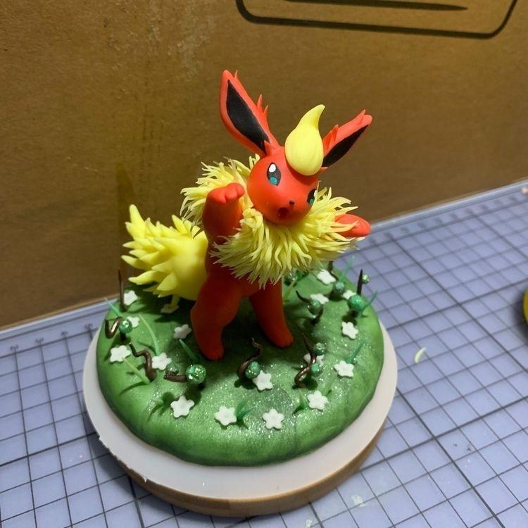 cute playful Flareon - pokemon, flareon - pokeclay   ello
