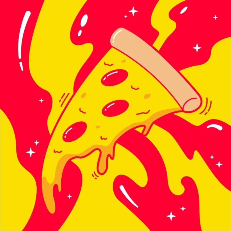 Pizza - illustration, food - alexfoxley | ello