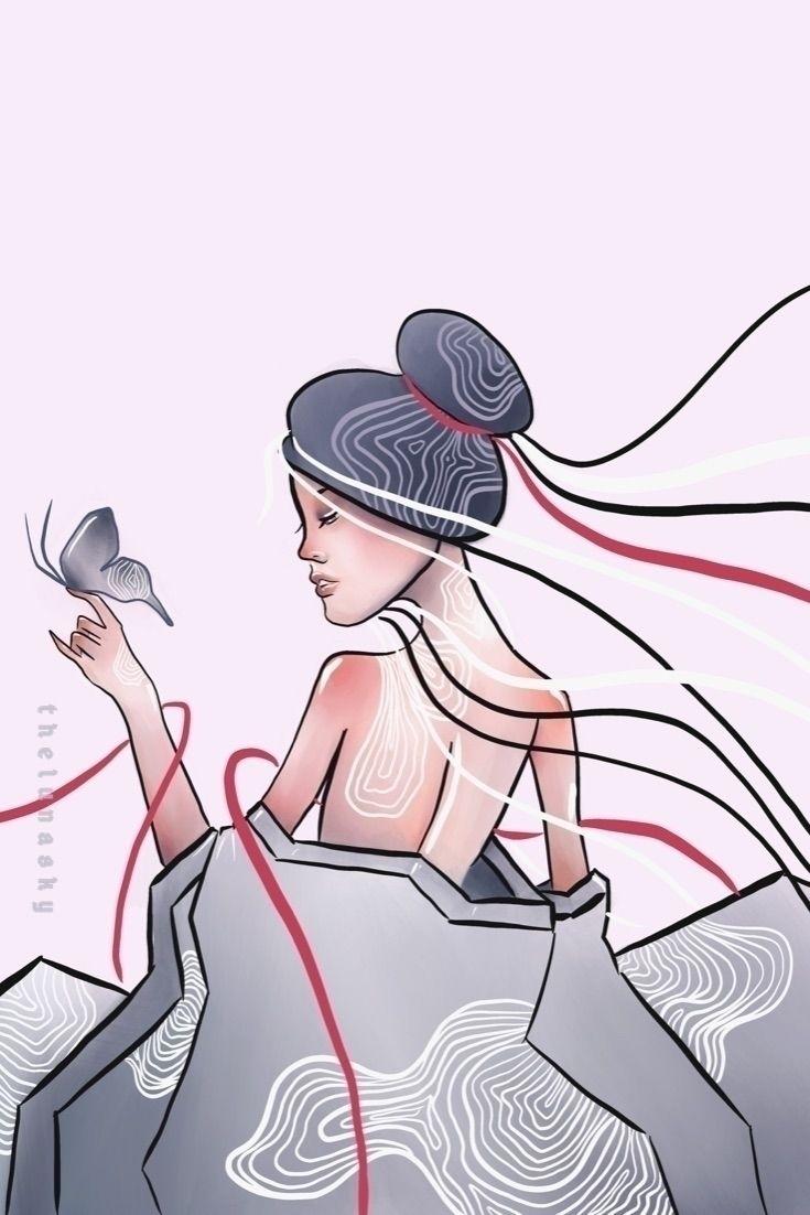 Butterfly 🦋  - elloart, illustration - thelunasky | ello