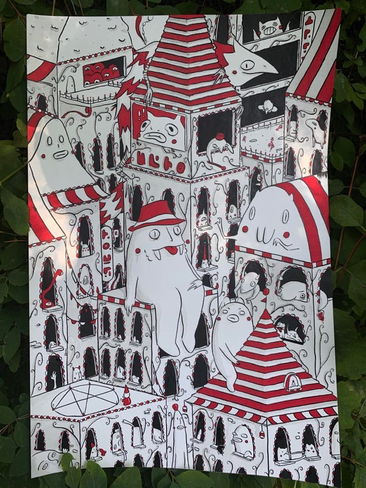 Seaside Town - illustration, penandink - tedubs | ello