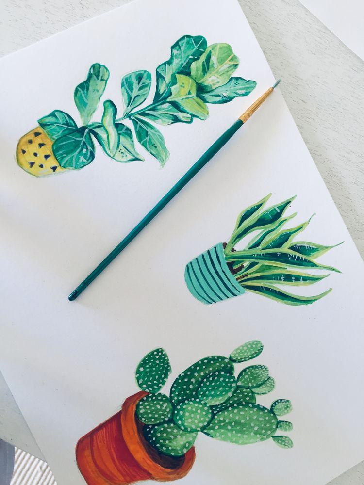Tiny water colour plants. serie - sister_sphynx | ello