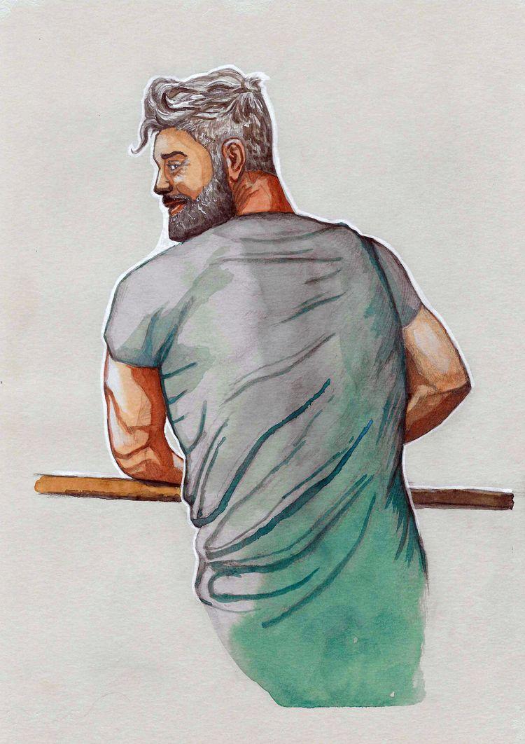 Study Watercolor toned paper - maleart - nicglorieux_illustration | ello