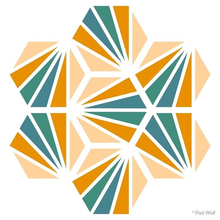 Geometric Pattern: Hexagon Ray - red_wolf | ello