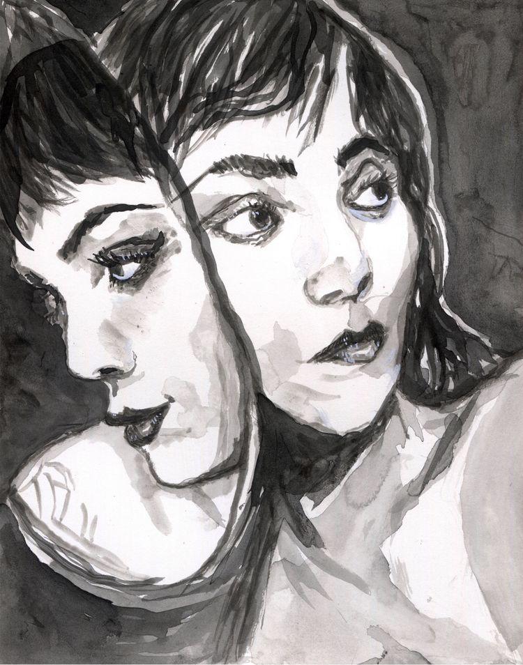 Reflections Jane - ink, artforsale - gravesart | ello