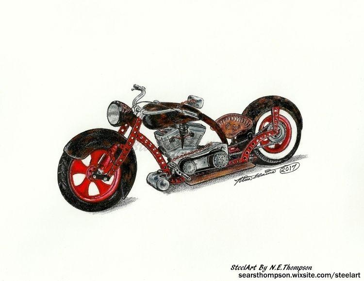 Rat Cycle SteelArt - art, drawing - n_e_thompson | ello