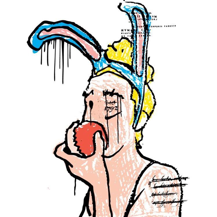 Bunny eating apple - daichrisart   ello