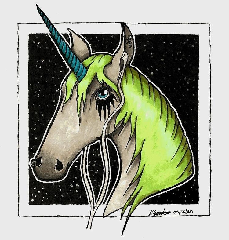 Emo Unicorn. Alcohol markers me - cadno | ello
