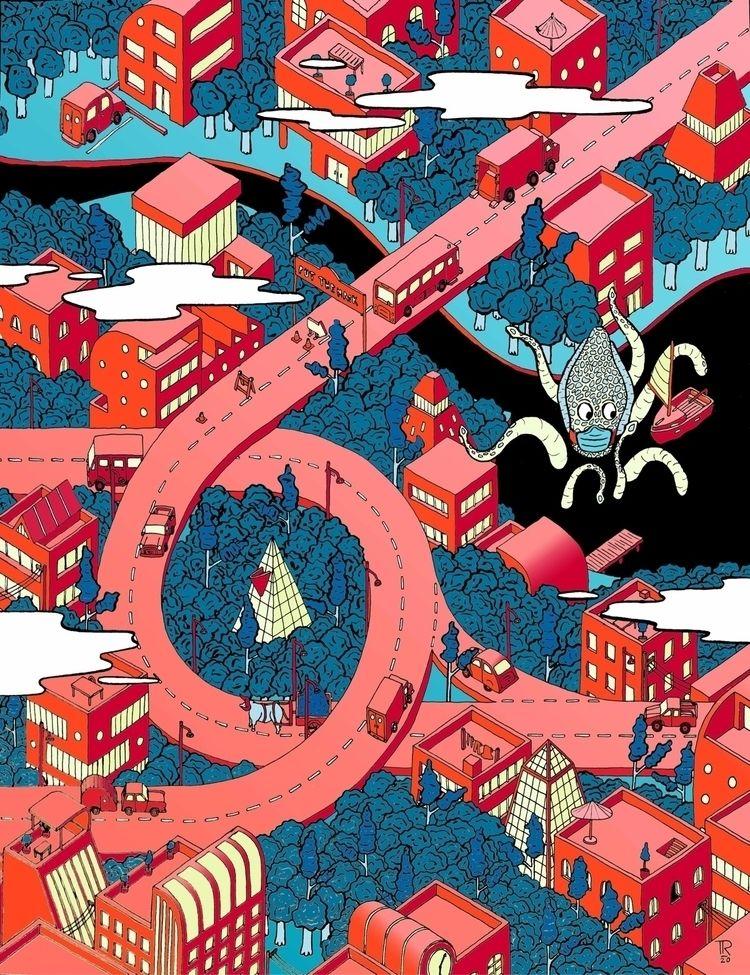 Une ville, des arbres, poulpe - illustration - tomrouleau | ello