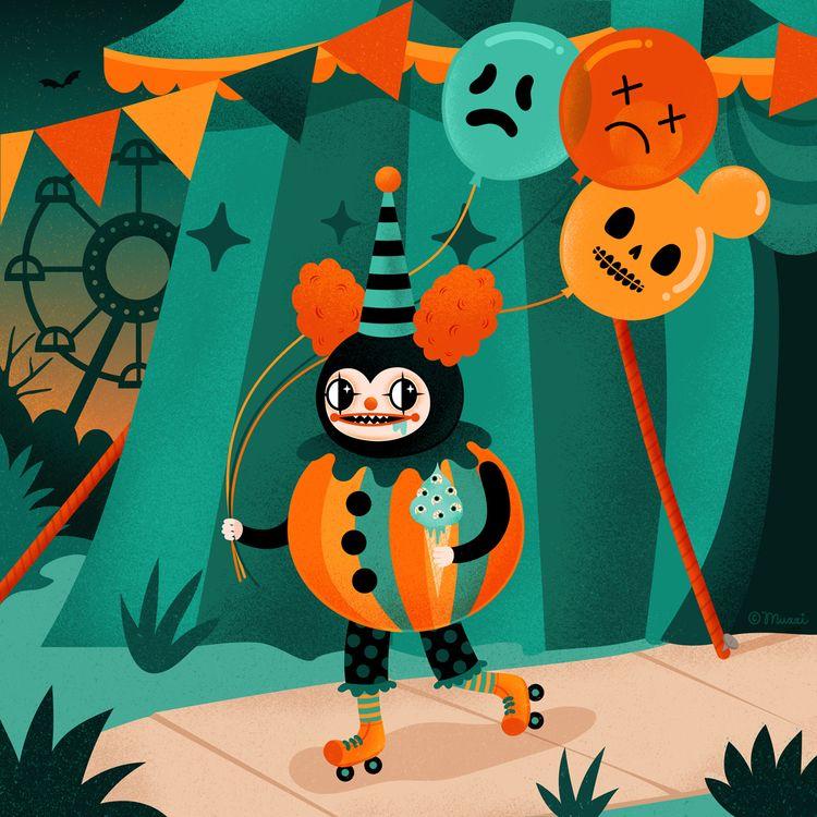 Spooky Clown - illustration, digital - muxxi | ello
