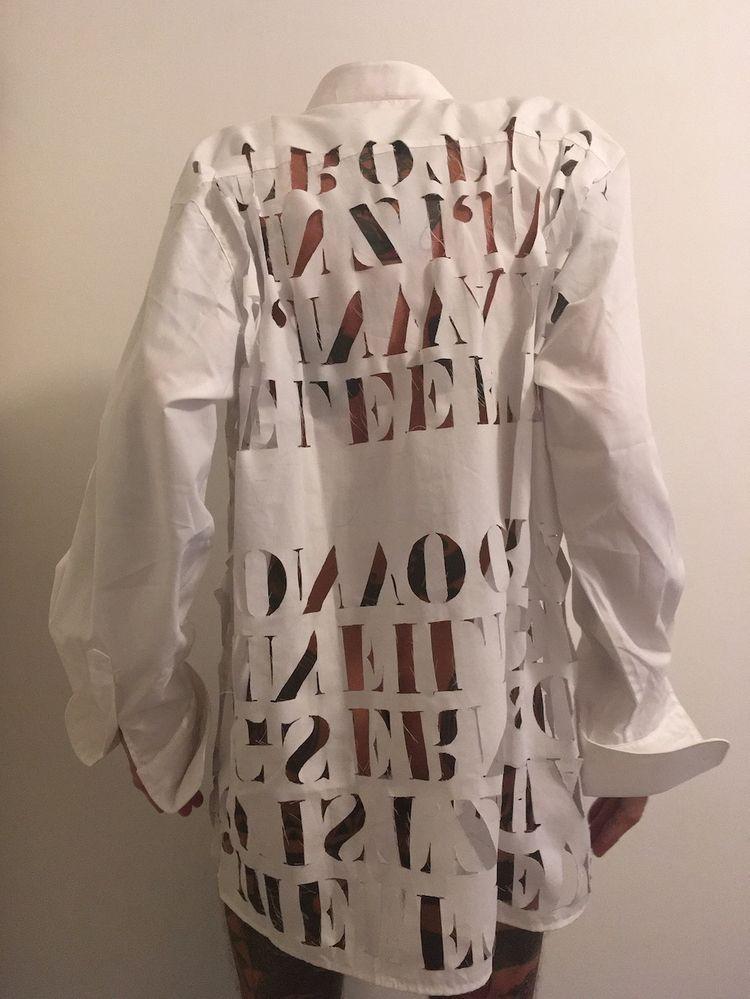 shirt cutout text(hand work sma - soek | ello
