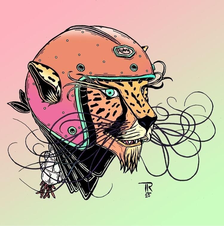Guépard + casque Ruby - illustration - tomrouleau   ello