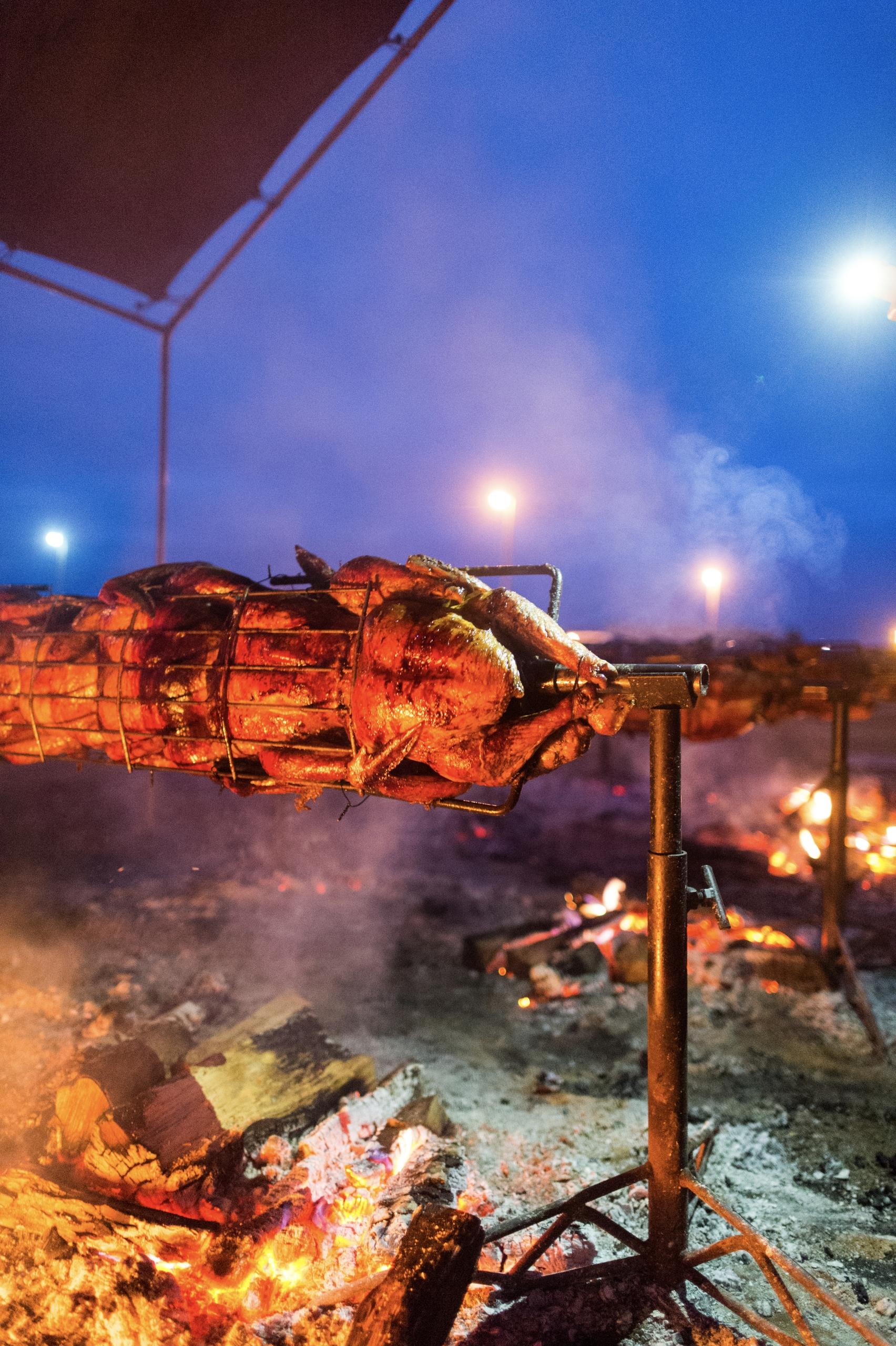 Turkeys roasting open flames Ca - danielkrieger | ello