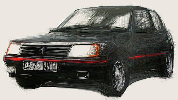 peugeot 205 gti drawing poster - carsstoon   ello
