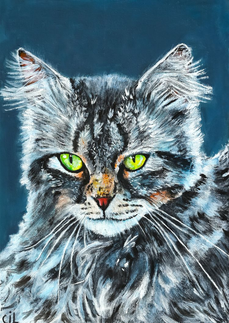 cat, pet, painting, acrylicpainting - catinleaves | ello