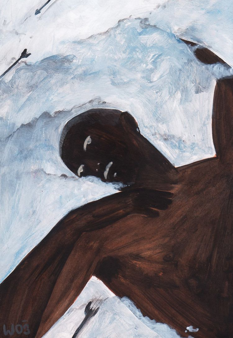 Cupid watching, acrylic paper 8 - wojciechwos | ello