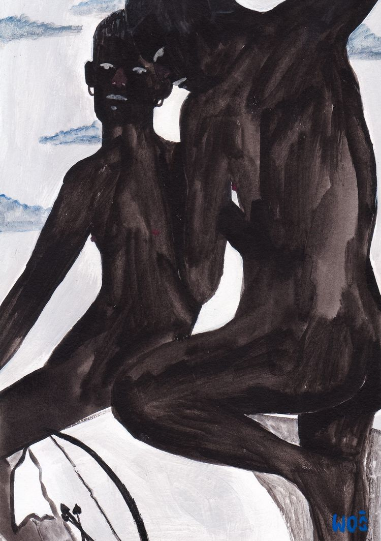 Cupids, acrylic paper 8.2x5.8 - wojciechwos - wojciechwos | ello