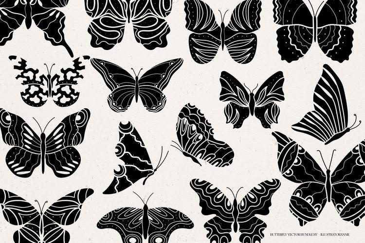 Butterfly illustration bundle  - illustratorannie   ello