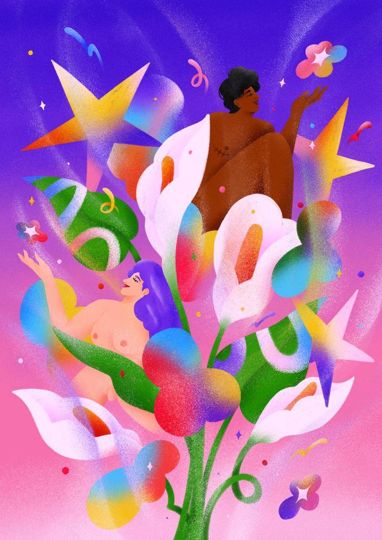 Grow love, grow free - illustration - kzhz | ello